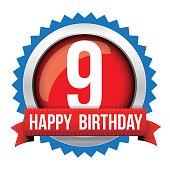 Nine years happy birthday badge ribbon