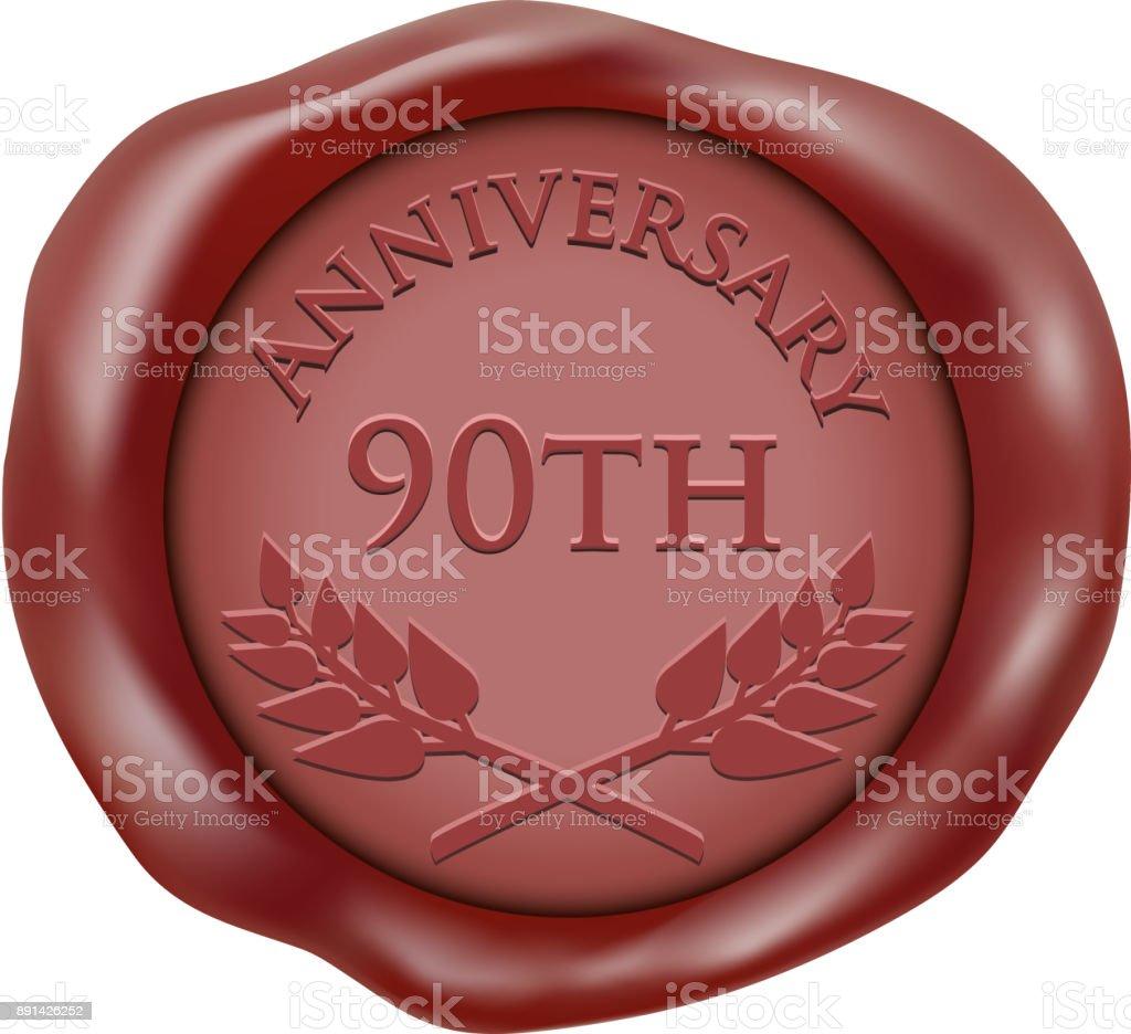 90. Jahrestag Wax Seal Symbol – Vektorgrafik