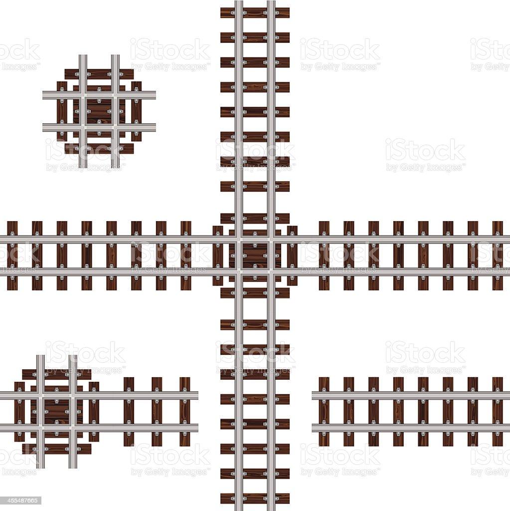 Ninety Degree Crossing Track vector art illustration