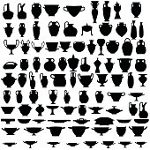 Ninety four silhouettes of ancient pottery