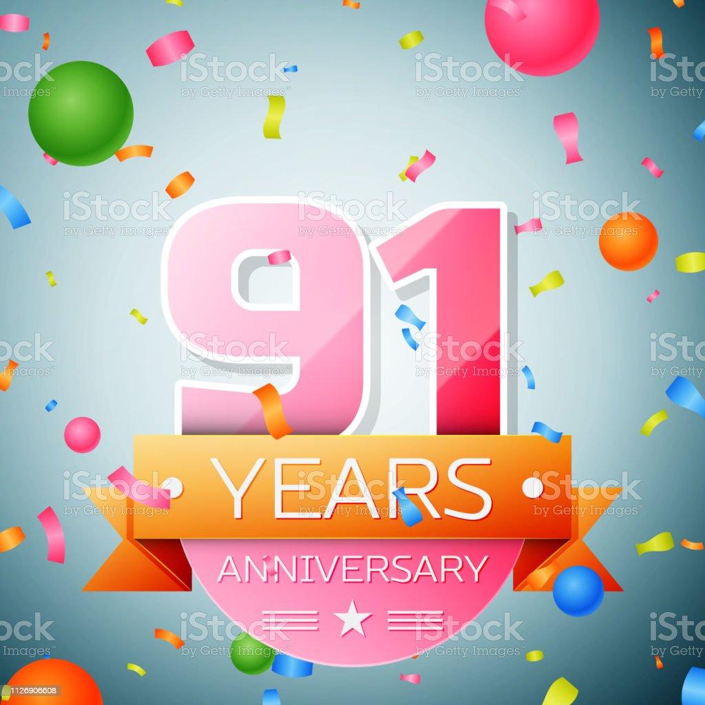 Ninety one years anniversary celebration background. Anniversary...