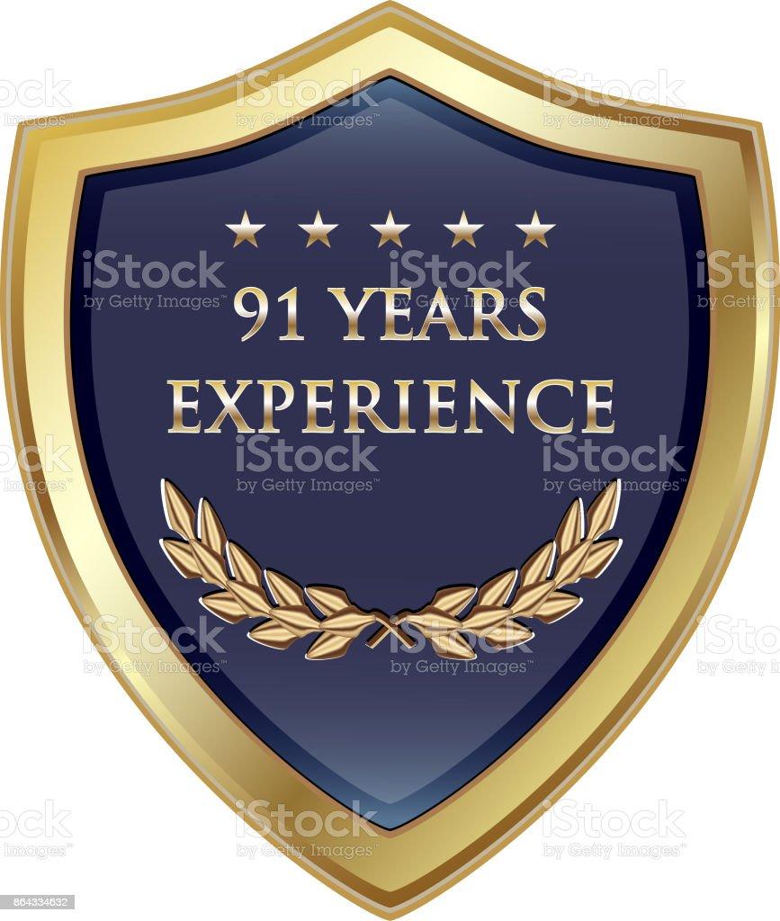 Neunzig Jahre erleben Gold Shield – Vektorgrafik