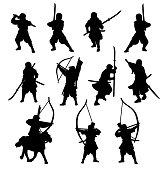Ninja and samurai silhouette set