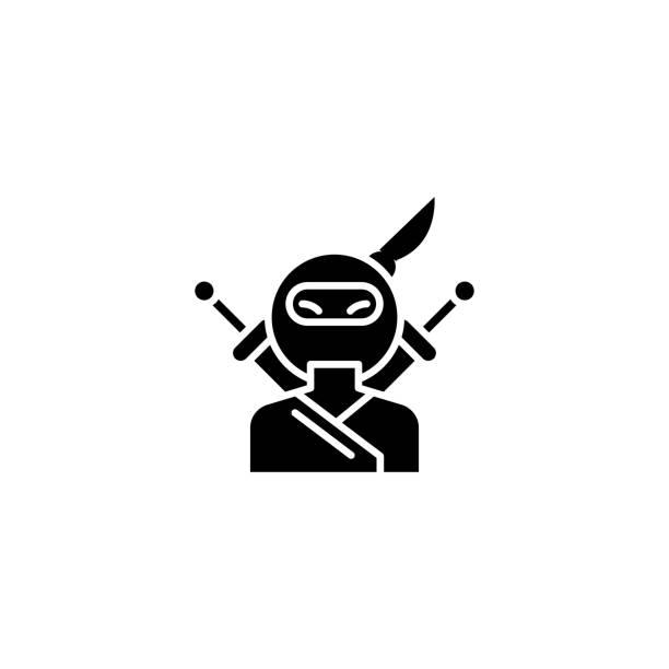忍者黑色圖示的概念。忍者平面向量符號, 符號, 插圖。向量藝術插圖