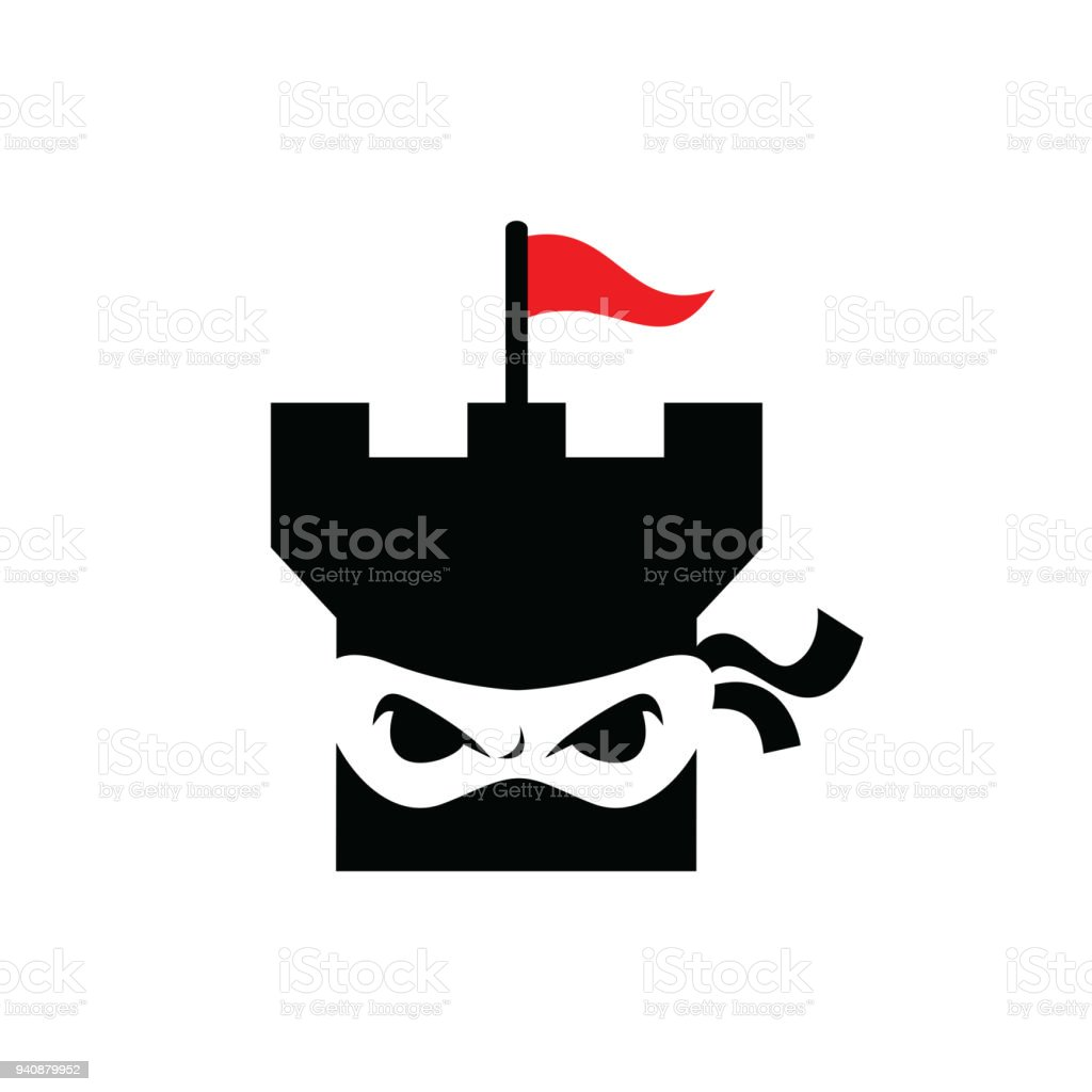 ninja castle template design vector emblem design concept creative