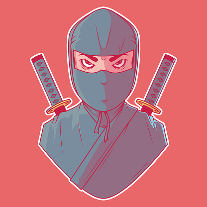 Ninja character vector illustration.