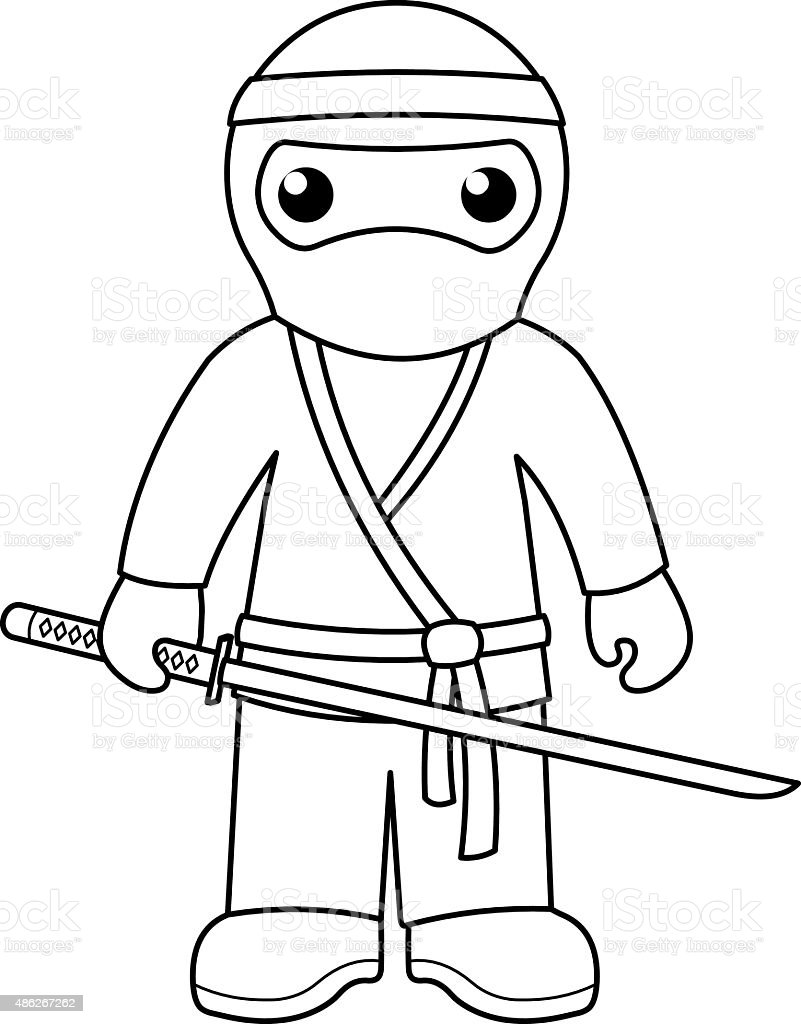 Ninja coloring page for kids stock vector art more for Coloring pages of ninjas