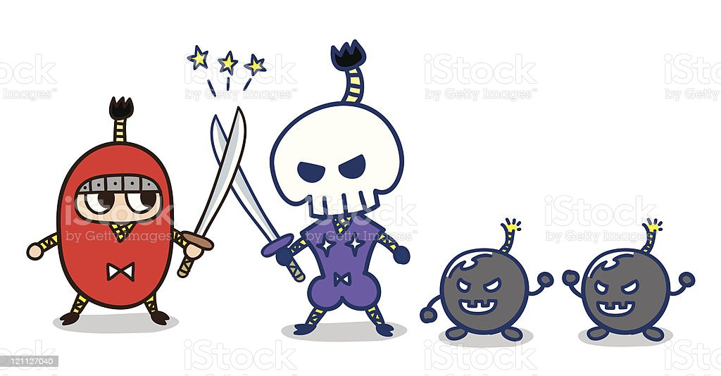 Duel ninja royalty-free stock vector art