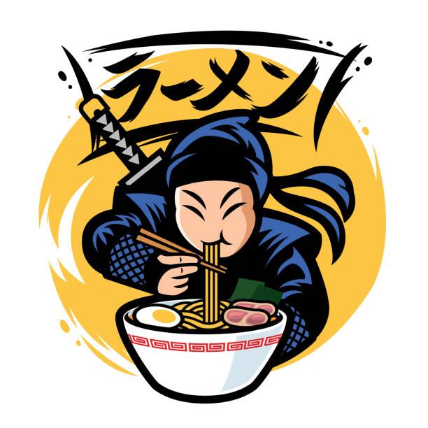 bildbanksillustrationer, clip art samt tecknat material och ikoner med ninja äta ramen med japan ordet ramen - japanskt ursprung