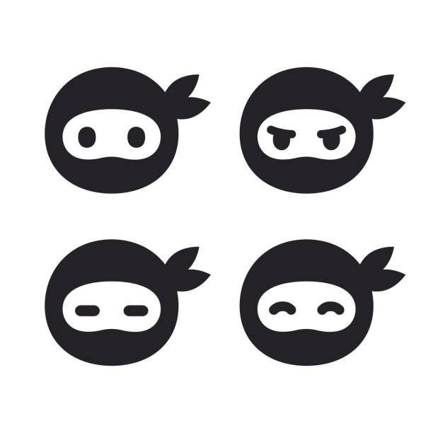 忍者の顔アイコンを設定 - 漫画の子供たち点のイラスト素材/クリップアート素材/マンガ素材/アイコン素材