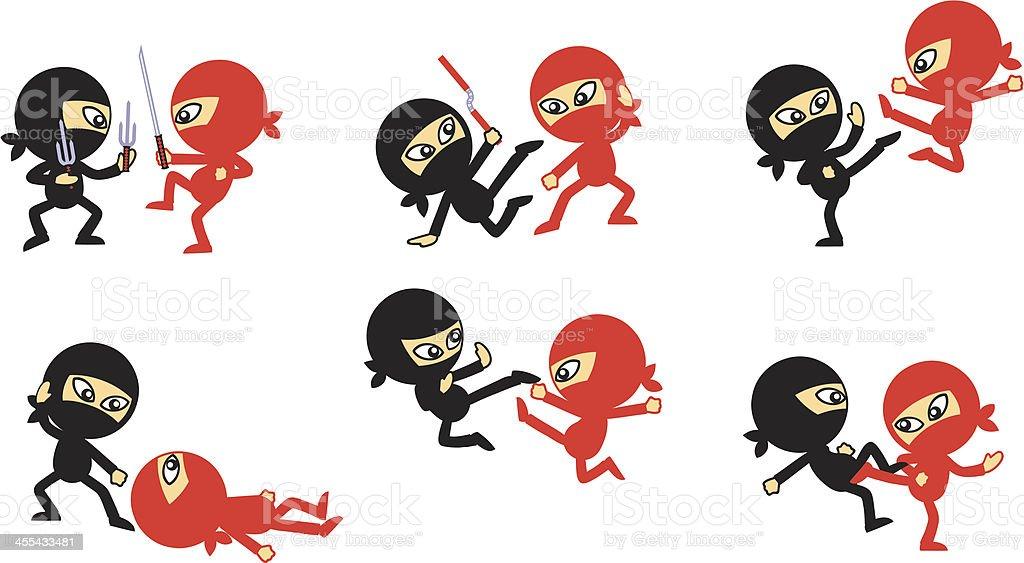 Ninja Fighting vector art illustration