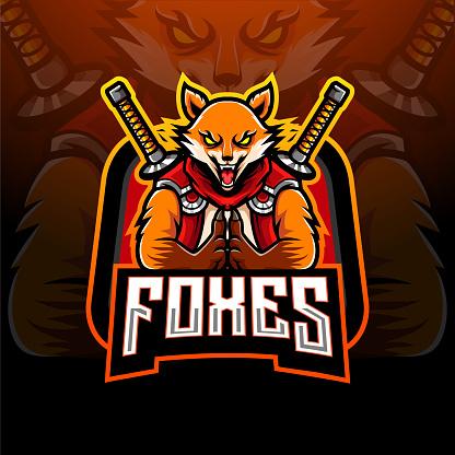 Ninja fox esport logo mascot design