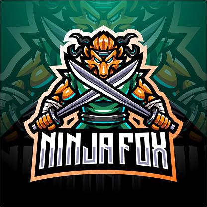 Ninja fox esport mascot logo design