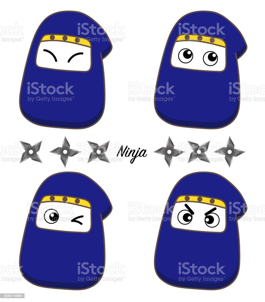 Ninja Icon set - cute type vector art illustration