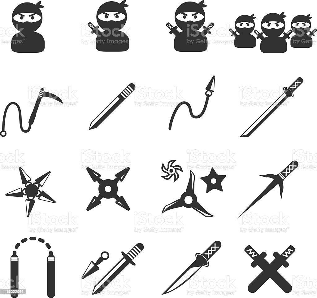 ninja icon set vector art illustration