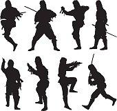 Ninja in action with sword