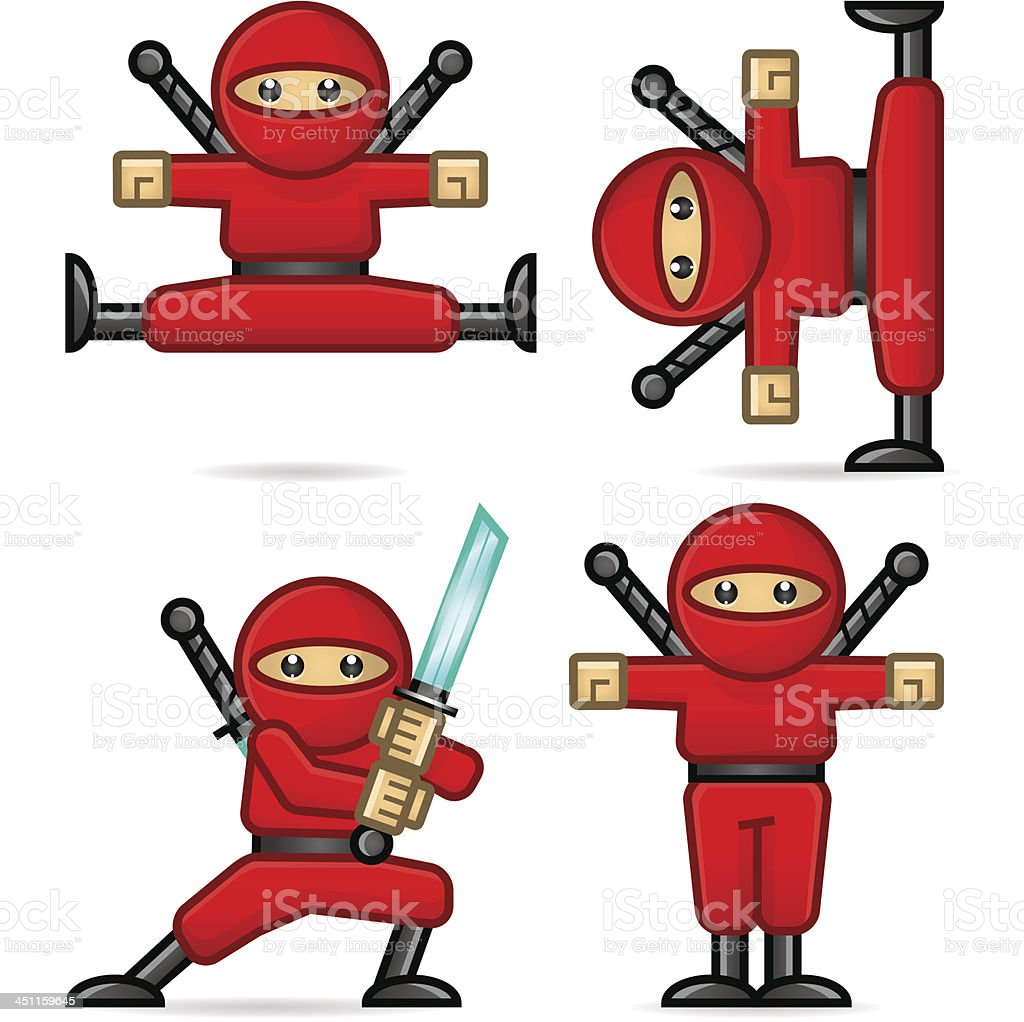 Ninja in different poses vector art illustration