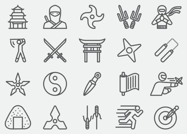 Ninja Line Icons Ninja Line Icons blade stock illustrations