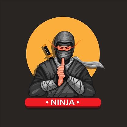 Ninja mascot figure character japanese culture illustration cartoon vector