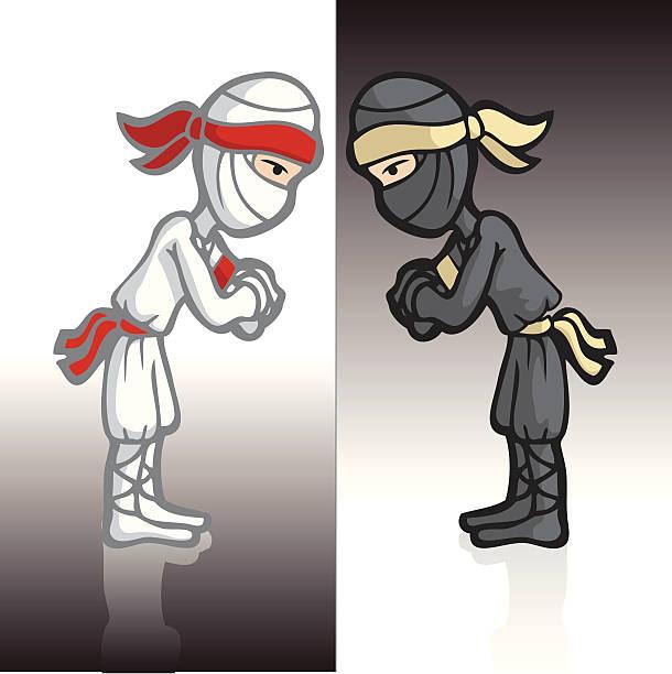 Ninja Mirror Bowing vector art illustration