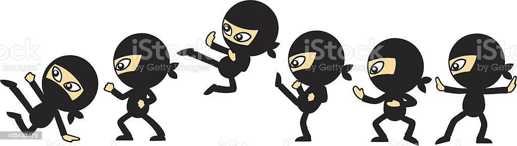 Ninja Moves vector art illustration