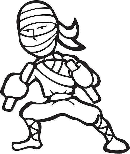 Line Art Ninja : Royalty free nunchaku clip art vector images
