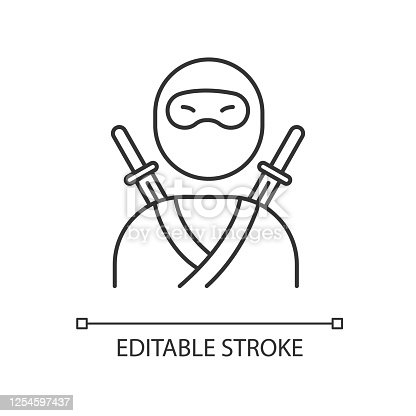 istock Ninja pixel perfect linear icon. Traditional japanese fighter. Asian assassin in mask and costume. Thin line customizable illustration. Contour symbol. Vector isolated outline drawing. Editable stroke 1254597437