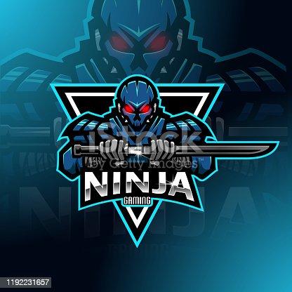 istock Ninja robot esport mascot logo design 1192231657