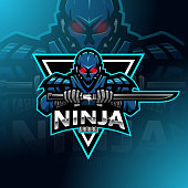 Illustration of Ninja robot esport mascot logo design