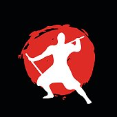 Ninja Warrior Silhouette on red moon and black background.