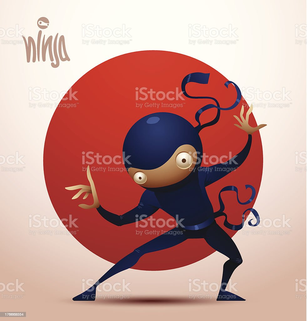 Ninja warrior standing in a fighting stance royalty-free stock vector art