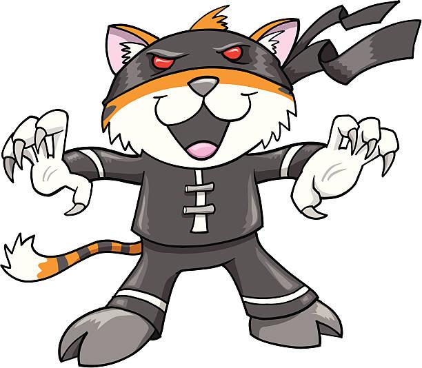 Ninja Warrior Tiger vector art illustration