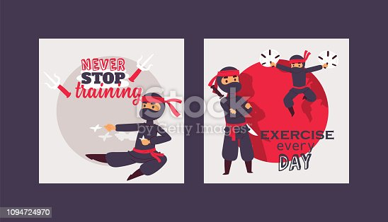 Ninja warrior vector illustration. Cartoon unbeatable character in various positions poster. Never stop training, exercise everyday concept. Fighters with different weapons, karate stick, star, sword.