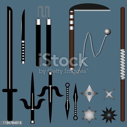 Ninja Weapon Set for Your Design, Game, Card. Katana, Sai, Kusarigama, Nunchucks, Kunai, Stick, Shuriken. Vector illustration for Your Design.
