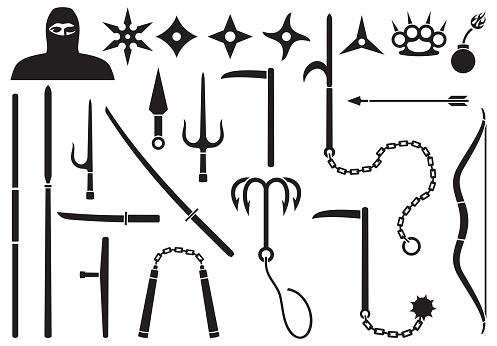 Ninja weapons icons set
