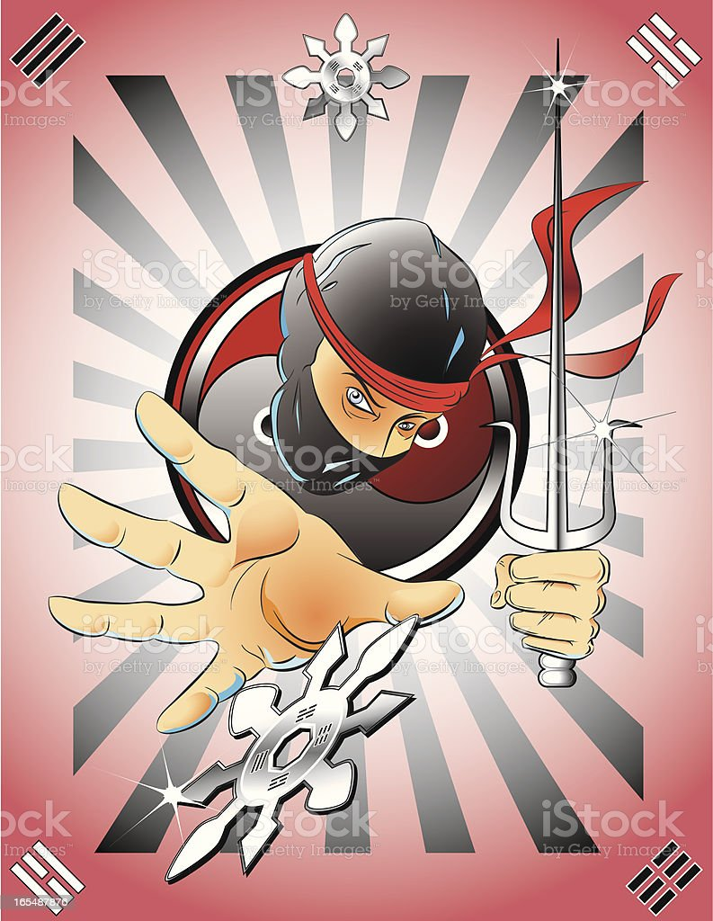 Ninja with Sai and Shuriken royalty-free stock vector art