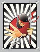 Ninja with Sword and Shuriken