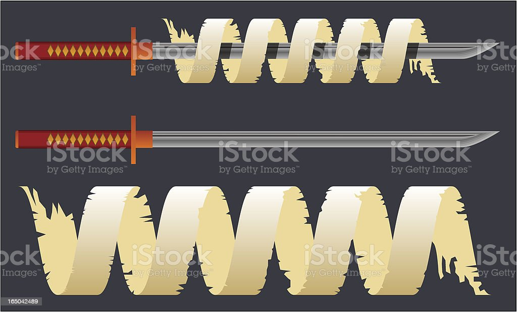 Ninjato Sword wrapped in Parchment vector art illustration
