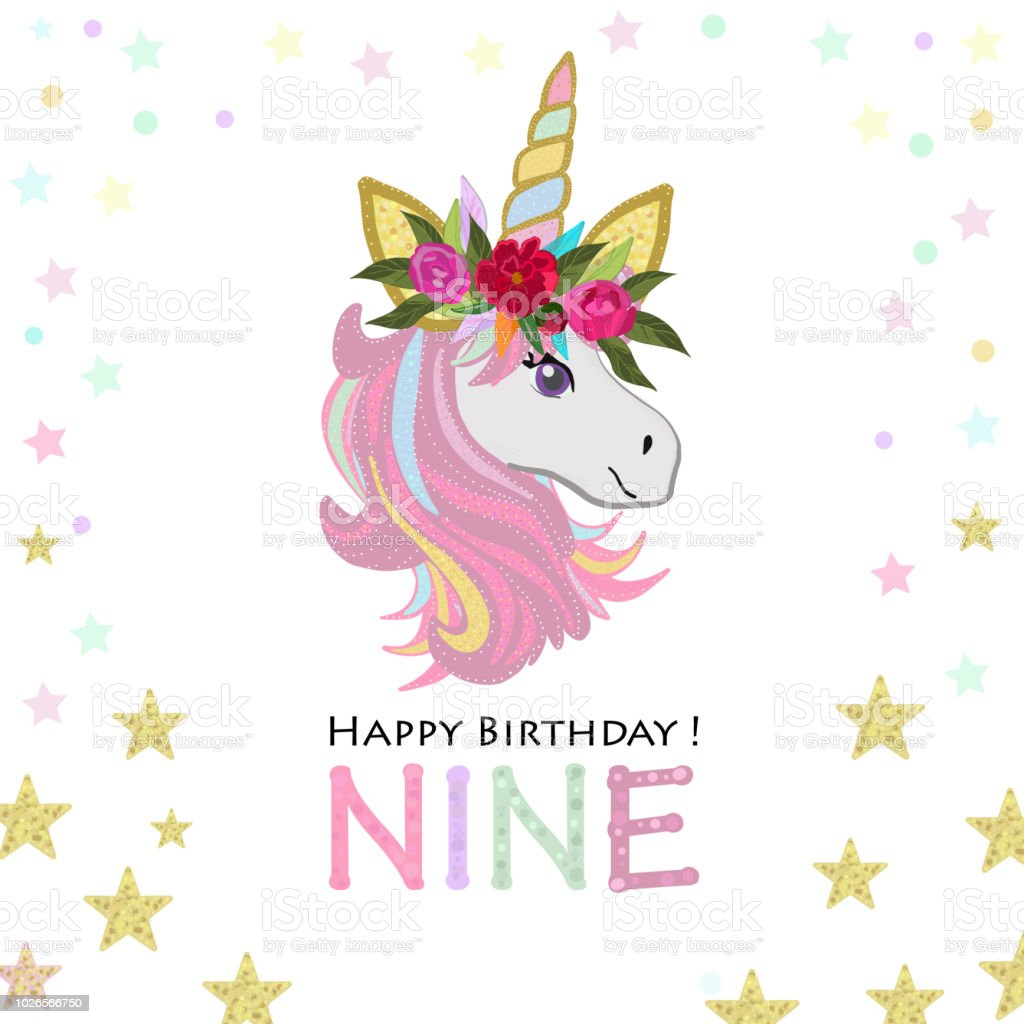 Ninth Birthday Greeting Nine Text Magical Unicorn Birthday ...