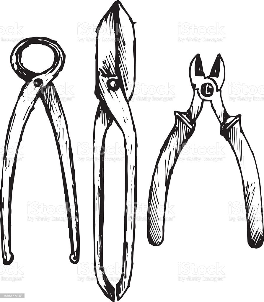 Nipper. Old used iron cutting pliers tongs vector art illustration