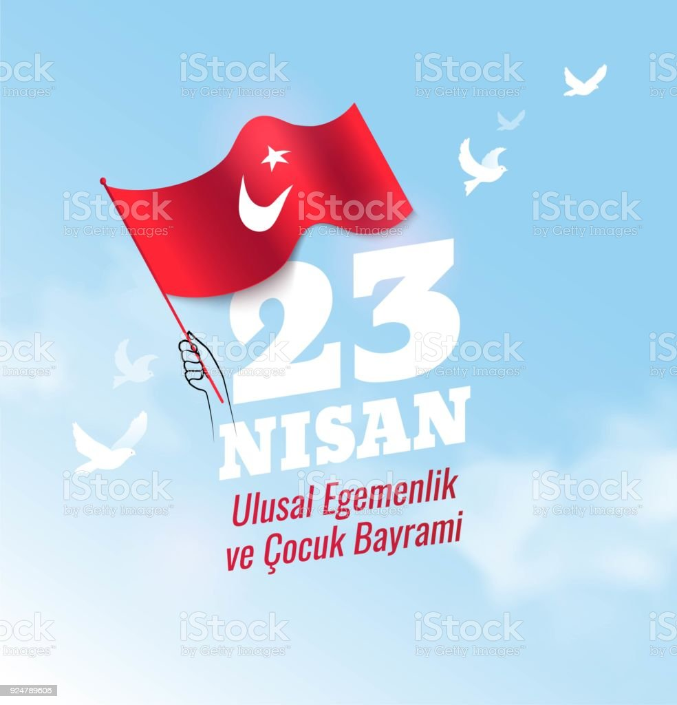 23 Nisan Cocuk Bayrami, 23 April  National Sovereignty and Children's Day in Turkey. vector art illustration