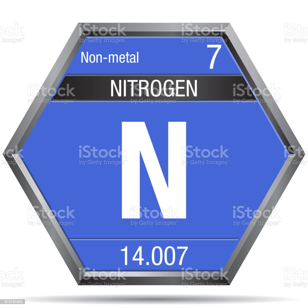 nitrogen symbol in the form of a hexagon with a metallic frame element number 7