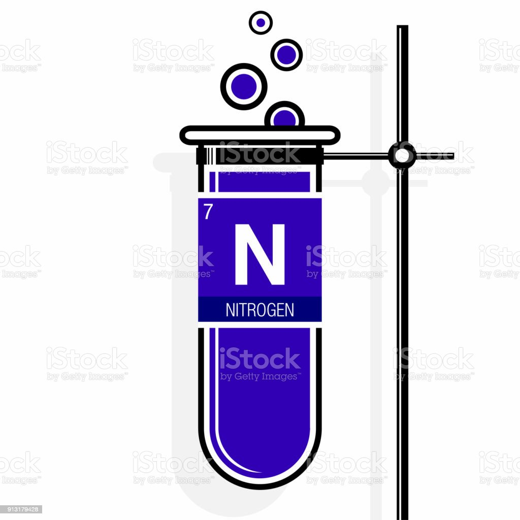 nitrogen symbol on label in a violet test tube with holder element number 7 of