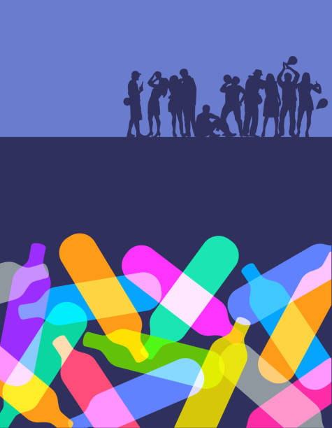 Nitrous Oxide or Laughing Gas Abuse Colourful silhouettes of Nitrous Oxide Canisters nitrous oxide stock illustrations