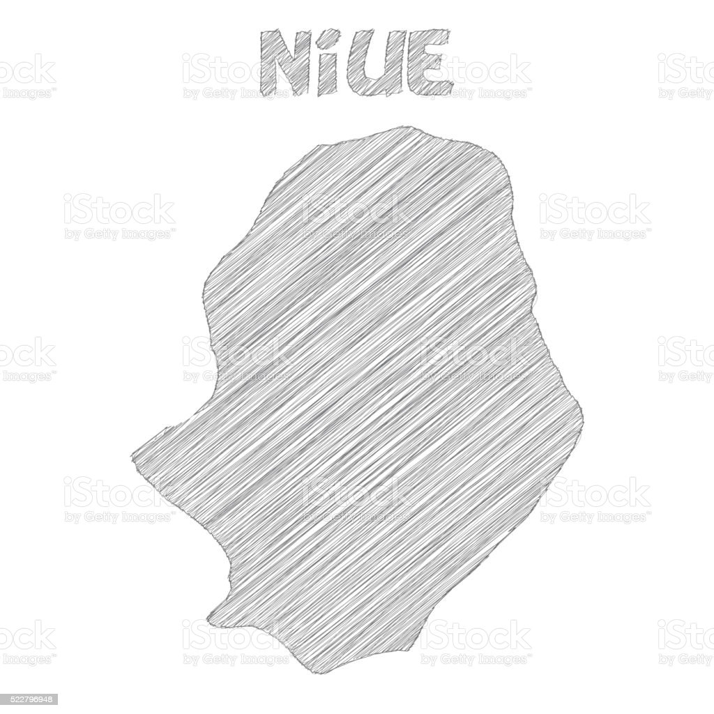 Niue Map Hand Drawn On White Background Stock Vector Art - Niue map