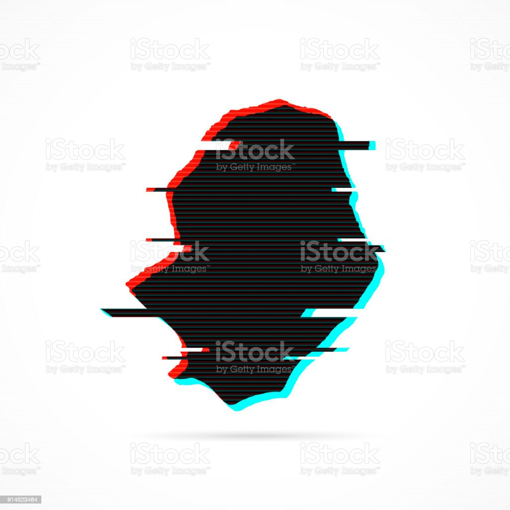 Niue Map In Distorted Glitch Style Modern Trendy Effect Stock Vector