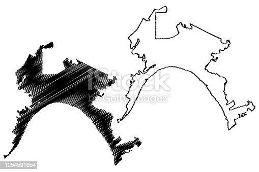 istock Nizhnevartovsk City (Russian Federation, Russia, Khanty-Mansi Autonomous Okrug-Yugra) map vector illustration, scribble sketch City of Nizhnevartovsk map 1254591654