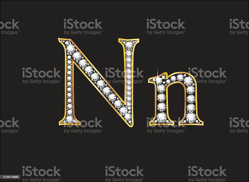Nn Diamond Jeweled Font with Gold Channels vector art illustration