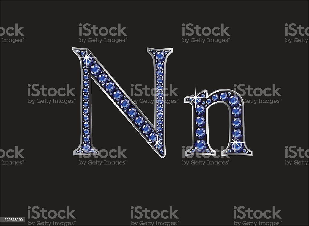 Nn Sapphire Jeweled Font with Silver Channels vector art illustration