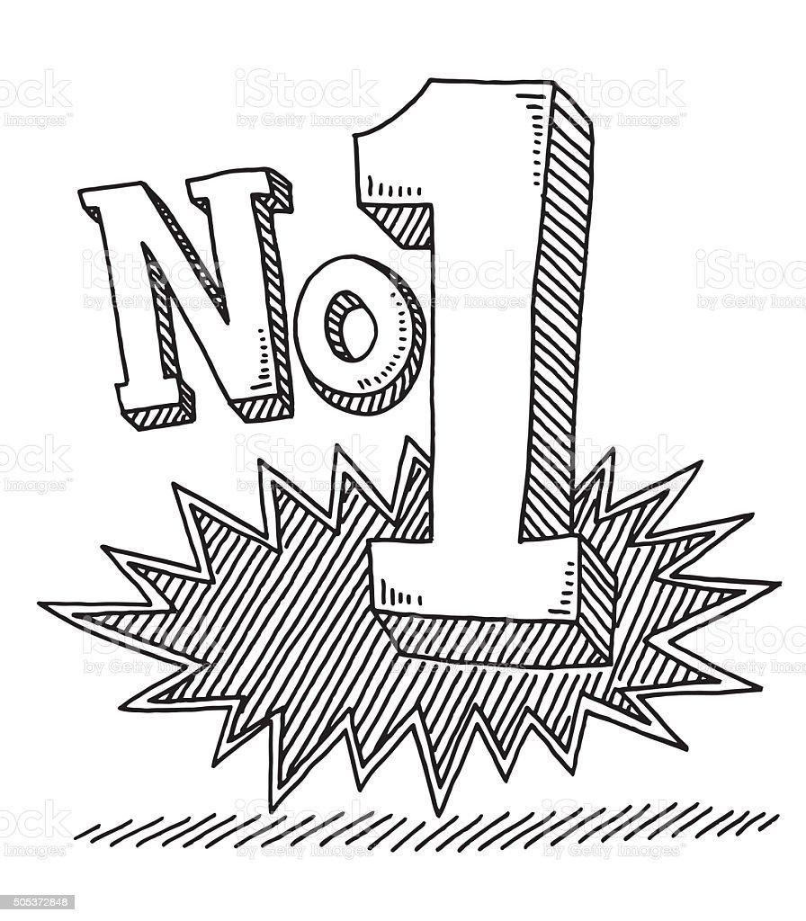 No 1 Text Drawing vector art illustration